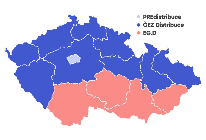 Mapa distribučních území elektřiny
