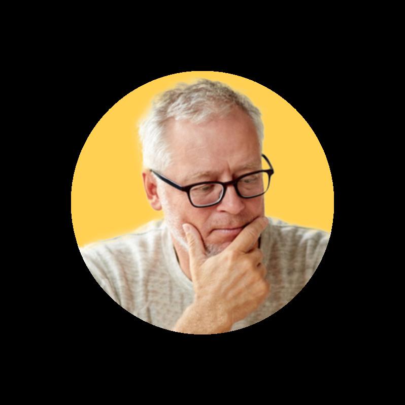 Zamyšlený elegantní muž s brýlemi