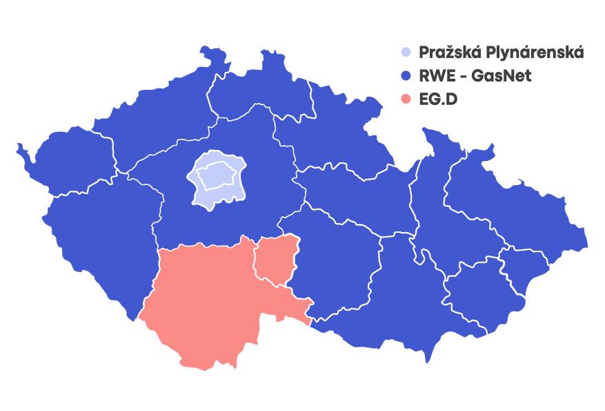 Mapa distribučních území zemního plynu
